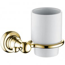 Bristan 1901 Tumbler & Brass Holder, Gold Plated