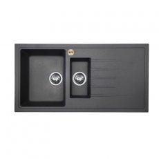 Bristan Gallery Quartz Easyfit 1.5 Bowl Kitchen Sink RH Drainer 1000mm L x 500mm W - Midnight Grey
