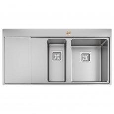 Bristan Ingot Easyfit 1.5 Bowl Kitchen Sink LH Drainer 1000mm L x 520mm W - Stainless Steel