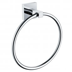 Bristan Square Brass Towel Ring, Chrome Plated