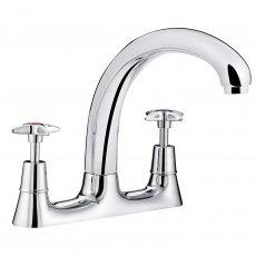 Bristan Value Crosshead Kitchen Sink Mixer Tap, Deck Mounted, Chrome
