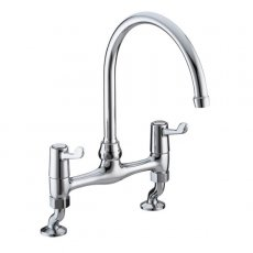 Bristan Value Lever Bridge Kitchen Sink Mixer Tap, 6 Inch Handles, Chrome