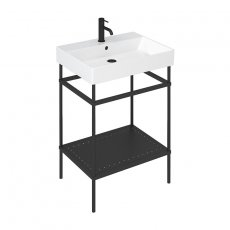Britton Shoreditch Frame 600mm Wide Basin with Black Washstand - 1TH