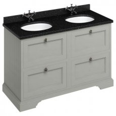 Burlington 130 4-Drawer Vanity Unit and Black Granite Basin 1300mm Wide Olive - 0 Tap Hole