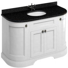 Burlington 134 Curved 4-Door Vanity Unit Black Granite Basin 1300mm Matt White - 0 Tap Hole