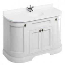 Burlington 134 Curved 4-Door Vanity Unit and White Basin 1300mm Wide Matt White - 0 Tap Hole
