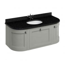 Burlington 134 Curved Wall Hung Vanity Unit and Black Granite Basin 1300mm Wide Olive - 0 Tap Hole