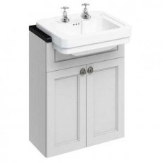 Burlington 60 Fitted Semi-Recessed Vanity Unit and 2TH Basin, 600mm Wide, Matt White