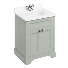Burlington 65 2-Door Vanity Unit and White Basin 650mm Wide Olive - 0 Tap Hole
