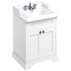 Burlington 65 2-Door Vanity Unit and Classic Basin 650mm Wide Matt White - 3 Tap Hole