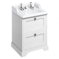 Burlington 65 2-Drawer Vanity Unit and Integrated Waste Basin 650mm Wide Matt White - 2 Tap Hole