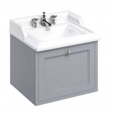 Burlington 65 Wall Hung Vanity Unit and Classic Basin 650mm Wide Classic Grey - 3 Tap Hole