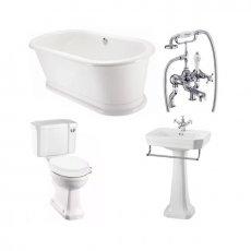 Burlington Complete Bathroom Suite, 1800mm x 850mm Round Freestanding Bath