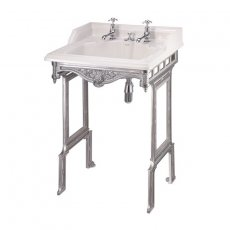 Burlington Classic Invisible Overflow Basin with Aluminium Wash Stand, 650mm Wide, 2 Tap Hole