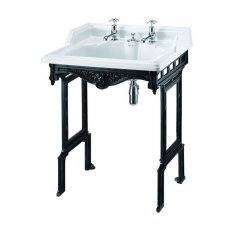 Burlington Classic Invisible Overflow Basin with Black Wash Stand, 650mm Wide, 2 Tap Hole