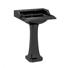 Burlington Classic Basin with Full Pedestal 650mm Wide 1 TH - Black