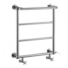 Burlington Cleaver Towel Rail with Valves and Heating Element 720mm H x 640mm W - Chrome
