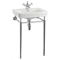 Burlington Contemporary Basin with Regal Chrome Wash Stand, 580mm Wide, 1 Tap Hole