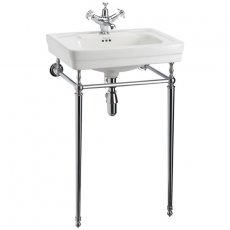 Burlington Contemporary Basin with Chrome Wash Stand, 580mm Wide, 3 Tap Hole