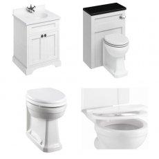 Burlington Furniture Bathroom Suite 670mm Wide Vanity Unit Matt White - 0 Tap Hole