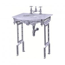 Burlington Georgian Marble Basin with Aluminium Wash Stand, 650mm Wide, 1 Tap Hole