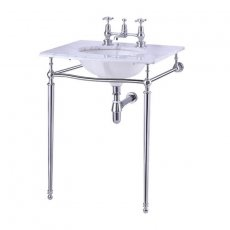 Burlington Georgian Marble Basin with Chrome Wash Stand, 650mm Wide, 1 Tap Hole