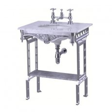 Burlington Georgian Marble Basin with Aluminium Wash Stand and Shelf, 650mm Wide, 2 Tap Hole