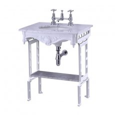 Burlington Georgian Marble Basin with White Wash Stand and Shelf, 650mm Wide, 2 Tap Hole