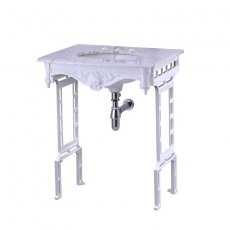 Burlington Georgian Marble Basin with White Wash Stand, 650mm Wide, 3 Tap Hole