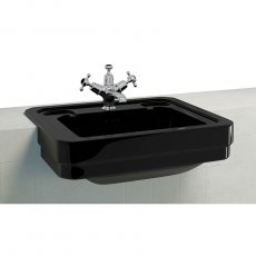 Burlington Semi-Recessed Basin 580mm Wide 1 TH - Black