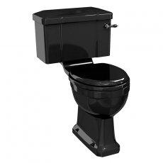 Burlington Standard Close Coupled Toilet Lever Cistern with Soft Close Seat - Black