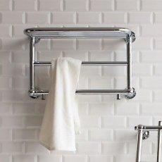 Burlington Strand Heated Towel Rail, 400mm High x 640mm Wide, Chrome