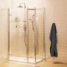 Burlington Traditional Inline Hinged Door Shower Enclosure with Tray 1000mm x 760mm, 8mm Glass