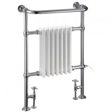 Burlington Trafalgar Radiator Towel Rail with Valves 950mm H x 640mm W - Chrome/White