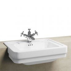 Burlington Victorian Semi-Recessed Basin, 580mm Wide, 1 Tap Hole