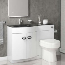 Cali Pebble D Shaped Combination Unit with Left Handed Basin - 1100mm Wide - Black Glass Basin