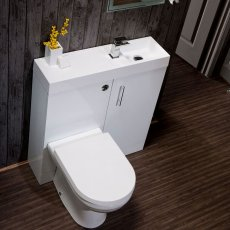 Cali Cube Plus Combination Unit with Polymarble Reversible Basin - 800mm Wide - Gloss White