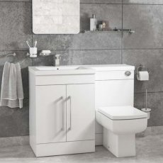 Cali Maze L Shaped Combination Unit with LH Mid Edge Basin - 1090mm Wide - Gloss White