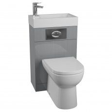Cali Futura WC Basin Pack with D Shaped Toilet Pan and Seat - Gloss Grey