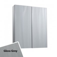 Cali Idon 2 Doors Wall Hung Mirror Cabinet - 600mm Wide - Grey