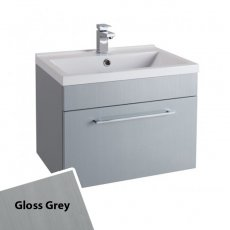 Cali Idon Wall Hung 1-Drawer Vanity Unit with Polymarble Minimalist Basin 600mm Wide - Gloss Grey