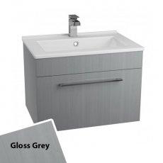 Cali Idon Wall Hung 1-Drawer Vanity Unit with Ceramic Minimalist Basin 600mm Wide - Gloss Grey