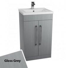Cali Idon Floor Standing 2-Door Vanity Unit with Ceramic Mid Edge Basin 500mm Wide - Gloss Grey