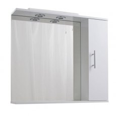 Cali Kass 1-Door Cabinet Mirror Unit and 2-Lights - 850mm Wide - Gloss White