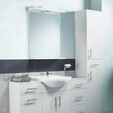 Cali Kass Mirror Unit and Lights - 450mm Wide - Gloss White