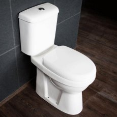 Cali Listra Comfort Height Close Coupled Toilet Push Button Cistern - Soft Close Seat