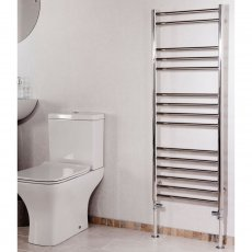 Cali Luxe Straight Heated Towel Rail 1200mm H x 450mm W Stainless Steel