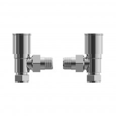 Cali Round Head Angled Radiator Valves - Pair - Chrome