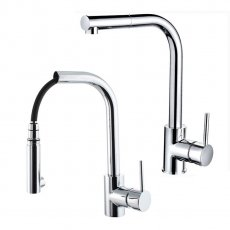 Cali Single Lever Mono Kitchen Sink Mixer with Pull Out Spray - Chrome