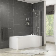 Cali Tempest P-Shaped Shower Bath 1700mm x 700mm/850mm Right Handed